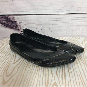 Alexander McQueen 9 Black Leather Zipper Flats